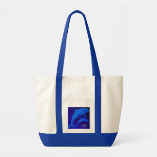 Dolphins Monogram Ocean Sea Beach Blue Jumbo Tote