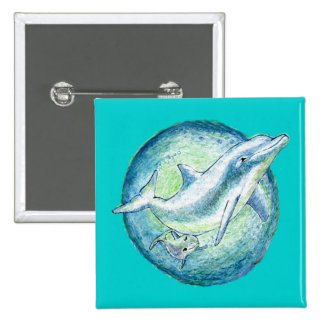 Dolphins Mother Calf Button Pin Badge