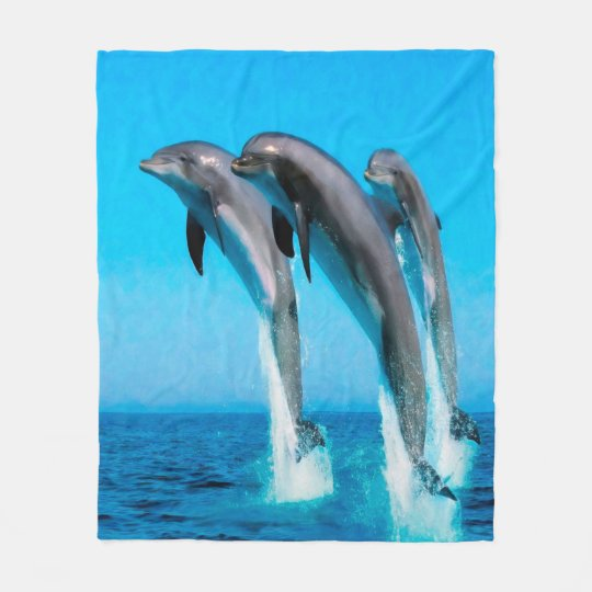Dolphins Nautical Ocean Fleece Blanket