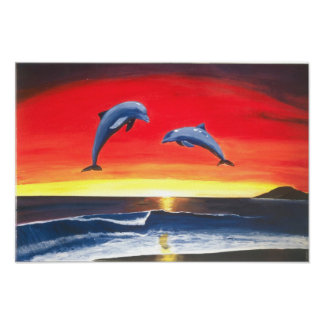 Dolphins Ocean Seascape Art Painting Print Poster