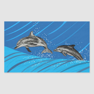 Dolphins of the Blue Sea Rectangular Sticker