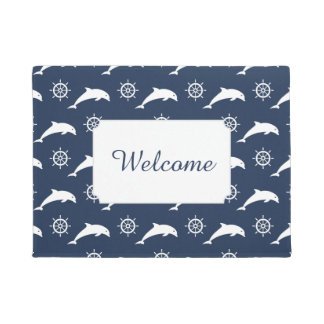 Dolphins On Parade Pattern | Add Your Text Doormat
