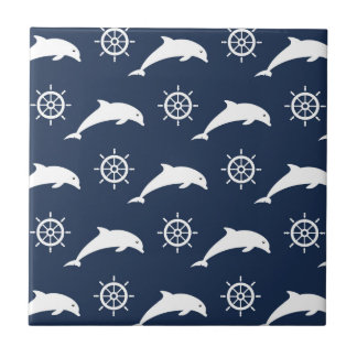 Dolphins On Parade Pattern Small Square Tile