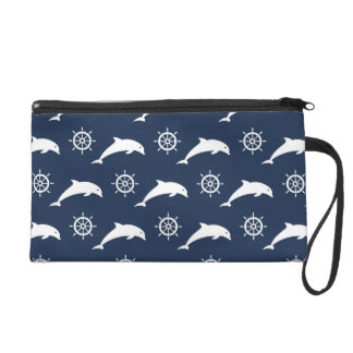 Dolphins On Parade Pattern Wristlet