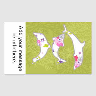 Dolphins on pastel green background. rectangular stickers
