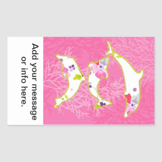Dolphins on pink background. stickers