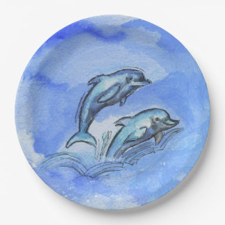 """""""Dolphins"""", Paper Plates 9 in 9 Inch Paper Plate"""