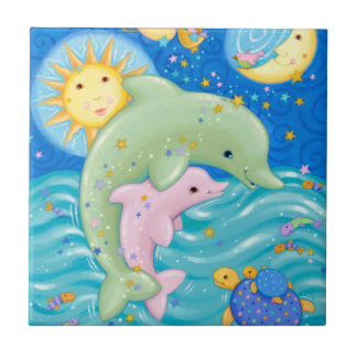 Dolphins Play Small Square Tile