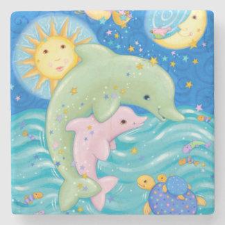 Dolphins Play Stone Coaster