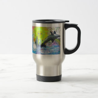 Dolphins playing in paradise travel mug