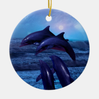 Dolphins playing in the ocean christmas tree christmas ornament
