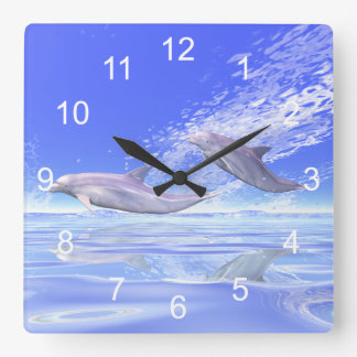 Dolphins Racing Square Wall Clock