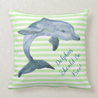Dolphins Should Be Free Dolphin on Mint Stripes xl Cushion