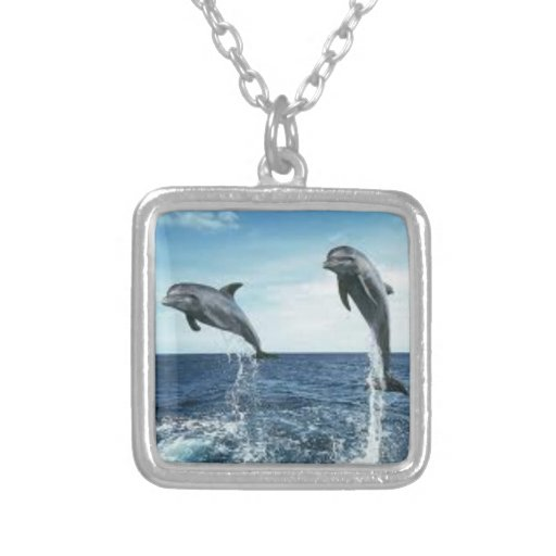 dolphins square necklace