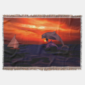 Dolphins Sunset Throw Blanket