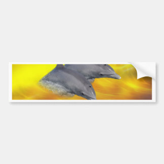 Dolphins surfing the waves bumper stickers