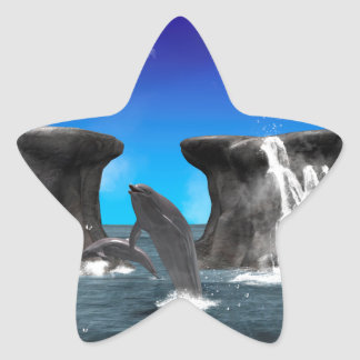 Dolphins swim and jumping in the sea star sticker