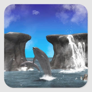 Dolphins swim and jumping in the sea stickers