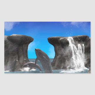 Dolphins swimming and jumping rectangular sticker