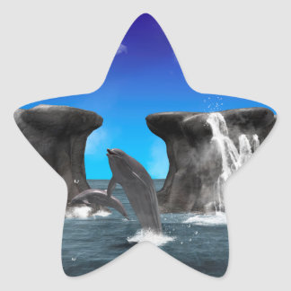 Dolphins swimming and jumping star sticker