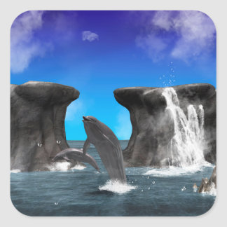 Dolphins swimming and jumping square sticker
