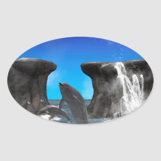 Dolphins swimming and jumping oval sticker