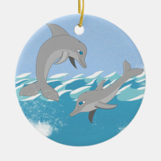Dolphins Swimming in the Ocean Christmas Ornament