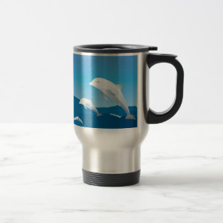 Dolphins swimming in the ocean design travel mug
