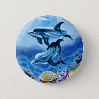 Dolphins Tropical Fish 6 Cm Round Badge