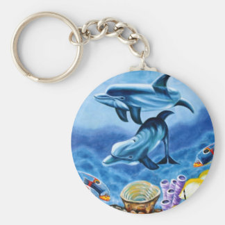 Dolphins Tropical Fish Key Ring