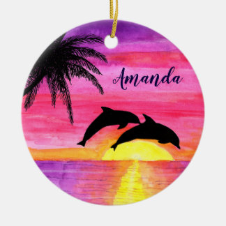 Dolphins Tropical Sunset Personalized Ornament