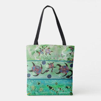 Dolphins & Turtles Aboriginal Tote Bag