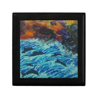 Dolphins under storm clouds gift box