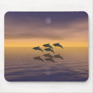 Dolphins Under the Moon Mouse Mat