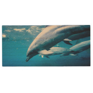 Dolphins Underwater Wood USB 2.0 Flash Drive