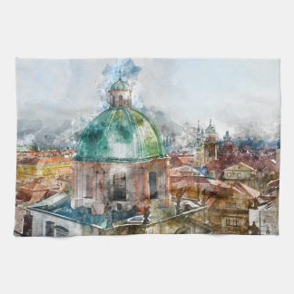 Dome in Prague Czech Republic Tea Towel