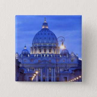 Dome of Saint Peter's Basilica at dusk 15 Cm Square Badge