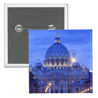 Dome of Saint Peter's Basilica at dusk 15 Cm Square Badge
