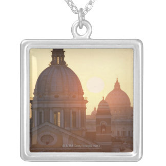 Domes of San Carlo al Corso Church and St. Silver Plated Necklace