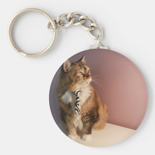 Domestic cat in a business Tie pic 2 Key Chain