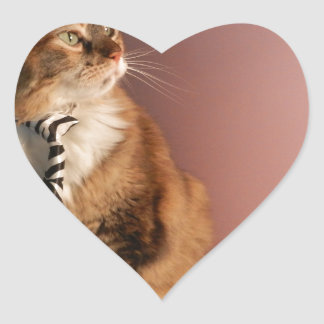 Domestic cat in a business Tie pic 2 Heart Sticker