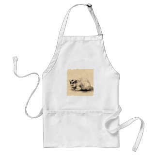 Domestic Cat Japanese Ink Drawing Apron