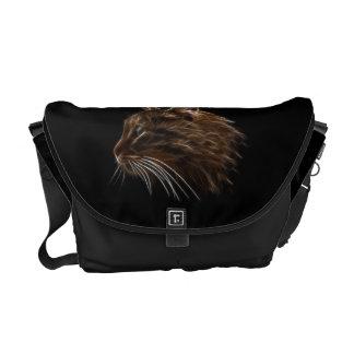 Domestic Cat Kitten Head Fractal Profile Messenger Bag