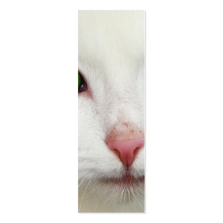 Domestic Cat with Green Eyes Feline Face White Fur Business Card