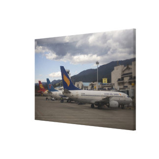 Domestic Chinese jet airliners lined up at Canvas Print