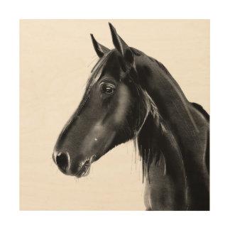 Domestic Equine Animal Horse Portrait Sketch Wood Print