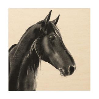 Domestic Equine Animal Horse Portrait Sketch Wood Wall Art