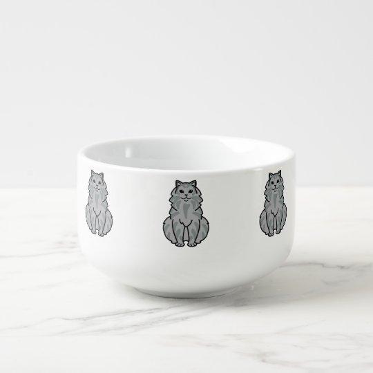 Domestic Longhair Cat Cartoon Soup Mug