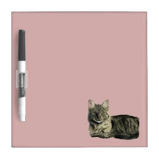 Domestic Medium Hair Cat Watercolor Painting Dry Erase Board
