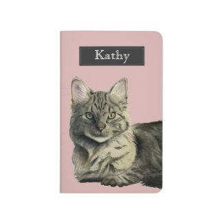 Domestic Medium Hair Cat Watercolor Painting Journal